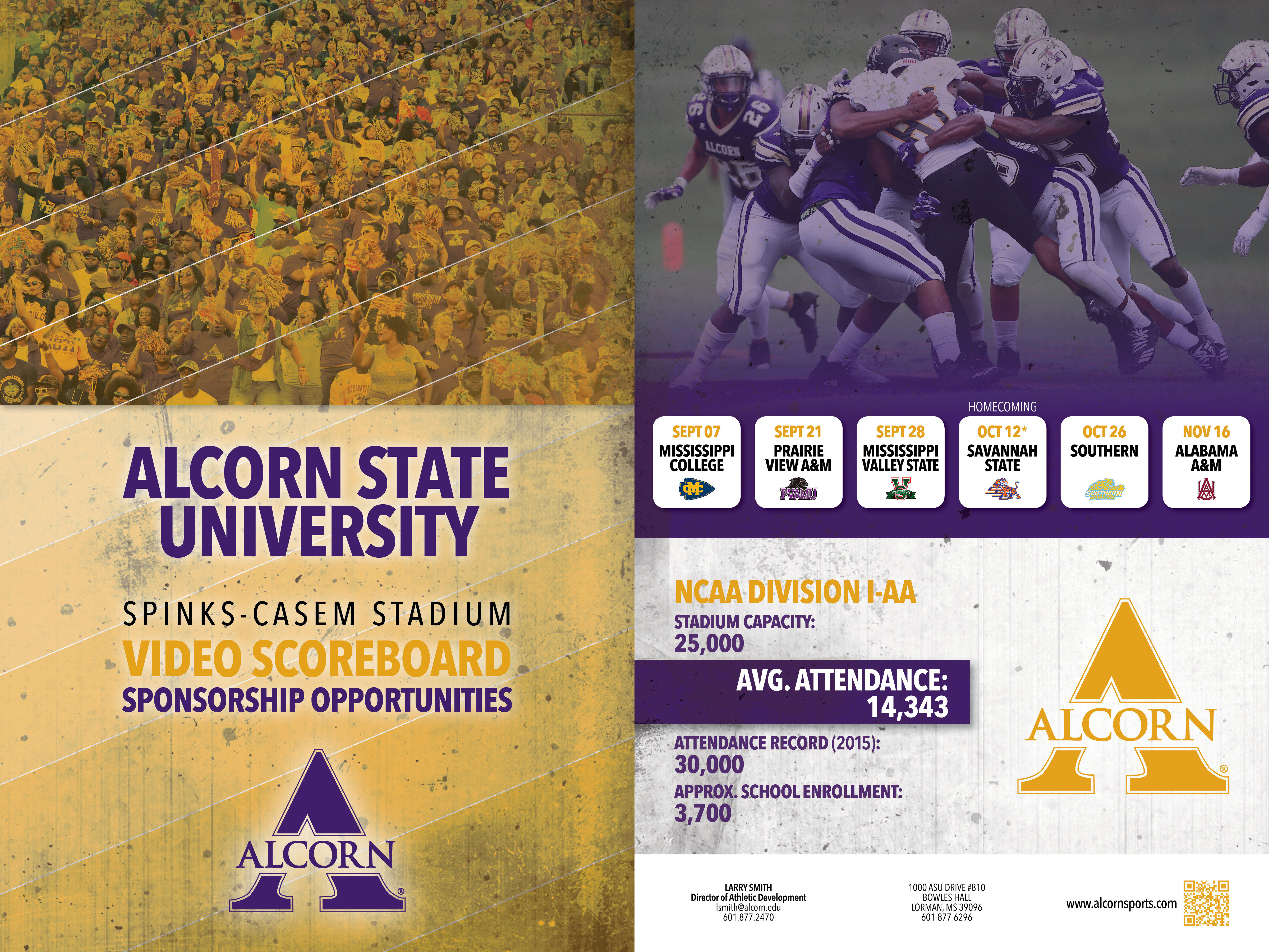 Alcorn State video scoreboard sponsorship graphic
