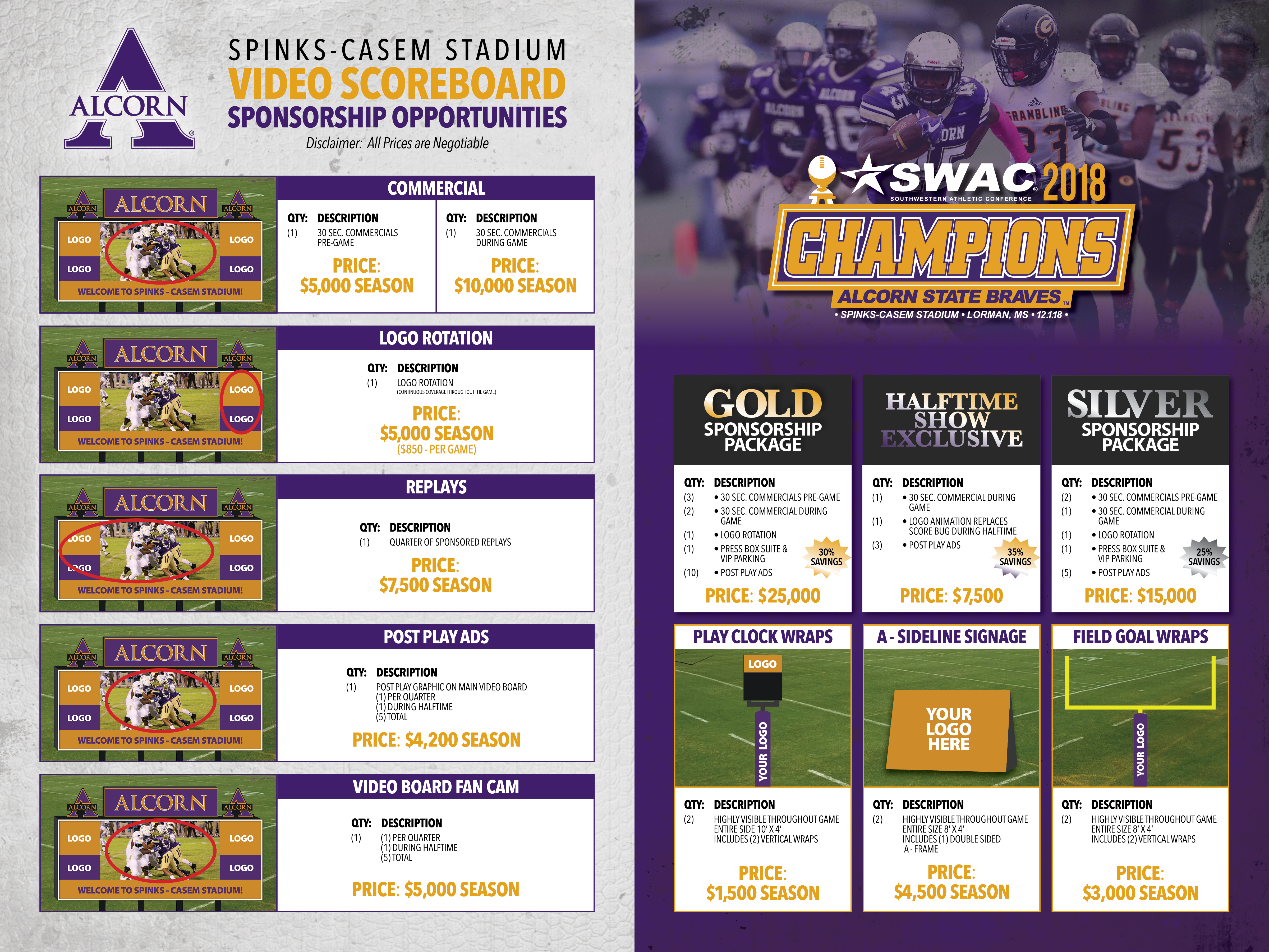 Alcorn State video scoreboard sponsorship opportunities graphic with prices